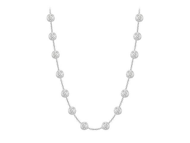 Diamonds By The Yard Necklace in 14K White Gold Bezel Set 0.80 ct.tw