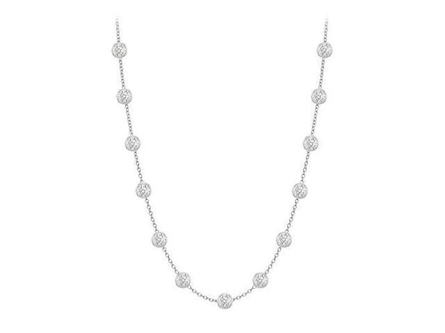 Diamonds By The Yard Necklace in 14K White Gold Bezel Set 0.50ct.tw
