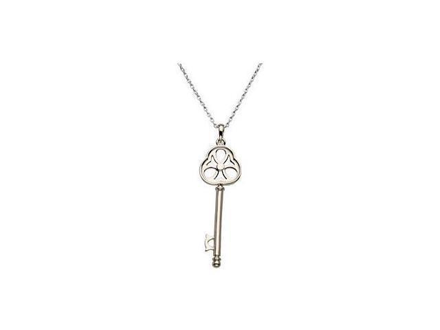 .925 Sterling Silver Rhodium Plating Key Pendant