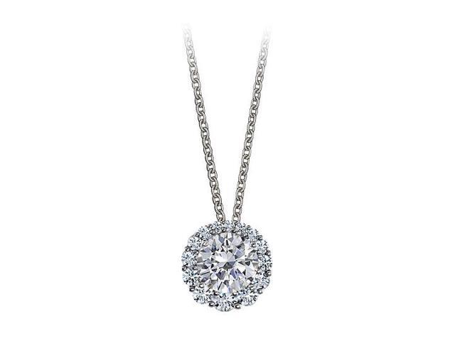 Halo Pendant with April Birthstone Cubic Zirconia in 14K White Gold 2.50 CT TGW
