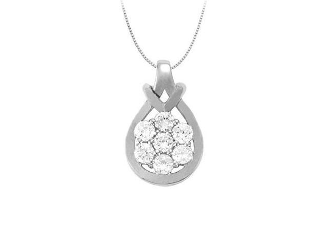 Love Knot Pendant in Sterling Silver with Cubic Zirconia 0.50 CT TGW with Sterling Silver Chain
