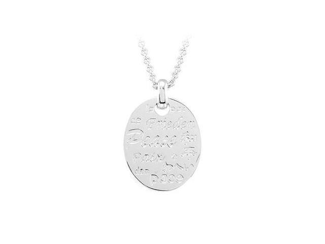 Peace Necklace with Diamond  Sterling Silver Rhodium Plate