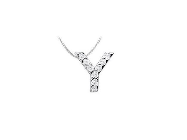 CZ Initial Sterling Silver Y Pendant