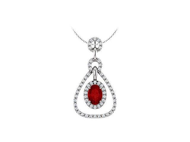 July Birthstone Created Ruby and CZ Tear Drop Halo Pendant in 14K White Gold 1.50 CT TGW