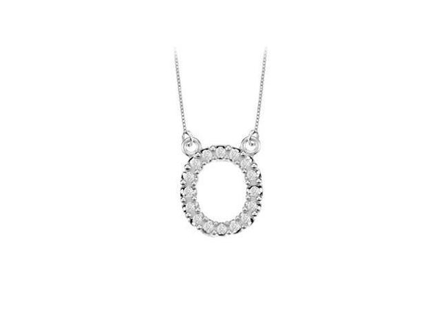 Petite Baby Charm Cubic Zirconia O Initial Pendant  .925 Sterling Silver - 0.25 CT TGW