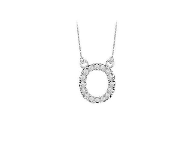 Petite Baby Charm Diamond O Initial Pendant  14K White Gold - 0.20 CT Diamonds
