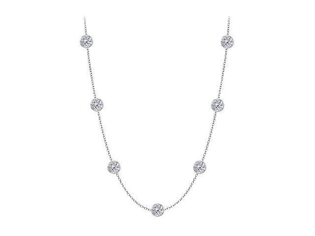 Cubic Zirconia By The Yard Necklace in 925 Sterling Silver 3.00 CT TW