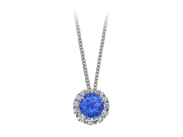 Halo Pendant with April Birthstone CZ and September Birthstone Sapphire White Gold 2.50 CT TGW
