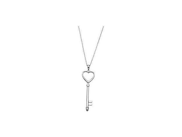 Heart Fashion Key Pendant in Rhodium Plating .925 Sterling Silver 49.00X13.00 MM