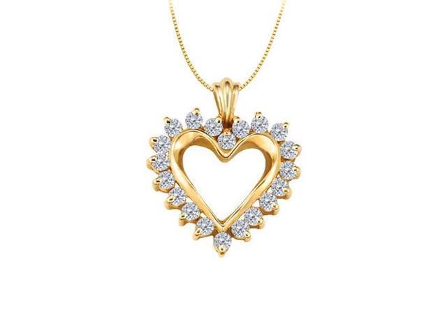 April birthstone Diamond Heart Pendant 14K Yellow Gold With Total 0.50 Carat Diamonds in Heart