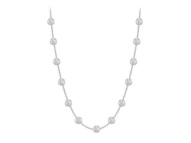 Diamonds By The Yard Necklace in 14K White Gold Bezel Set 1 ct.tw