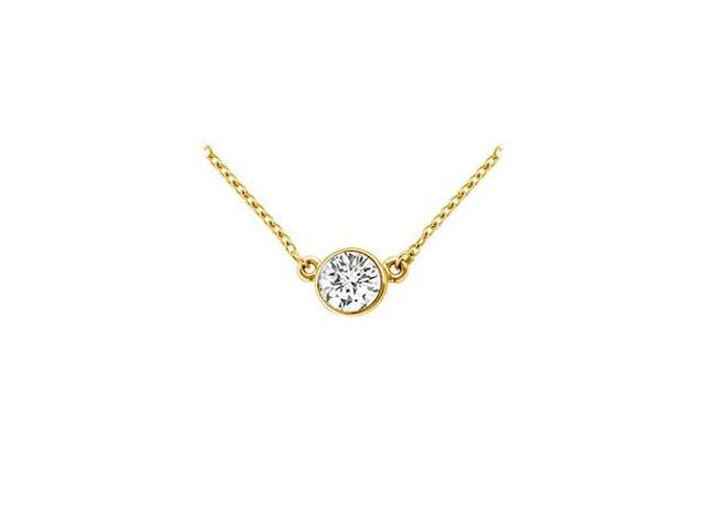 18K Yellow Gold  Bezel Set Round Diamond Solitaire Pendant - 0.50 CT. TDW.