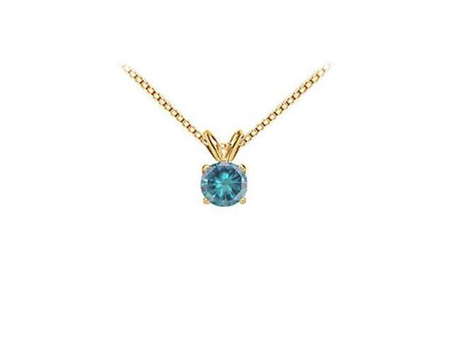 Blue Diamond Solitaire Pendant  14K Yellow Gold 0.50 CT Diamond
