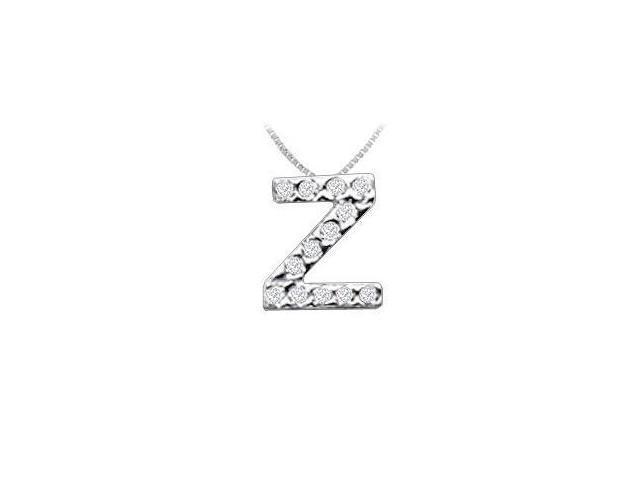 CZ Initial Sterling Silver Z Pendant