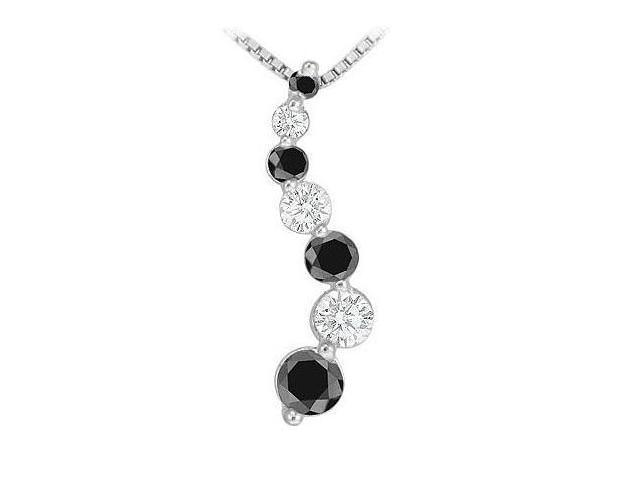 Black and White Diamond Journey Pendant  14K White Gold - 1.50 CT Diamonds