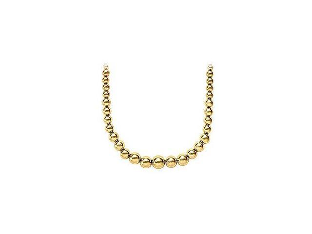Beads Necklace Set on 14K Yellow Gold Chains with Graduated 10 MM to 5 MM Beads