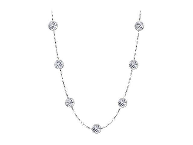 Cubic Zirconia By The Yard Necklace in 925 Sterling Silver 5.00 CT TW