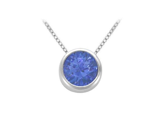 Created Sapphire Solitaire Pendant in 14kt White Gold 1.00.ct.tgw