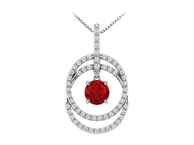 July Birthstone Ruby and CZ Double Row Circle Pendant 14K White Gold 1.75 CT TGW