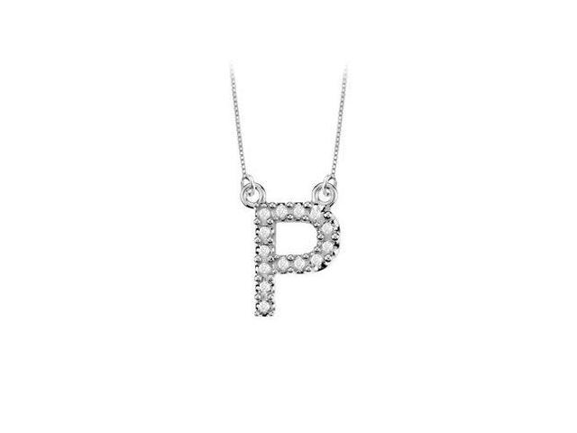 Petite Baby Charm Cubic Zirconia P Initial Pendant  .925 Sterling Silver - 0.20 CT TGW
