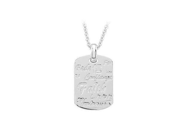 Faith 18 Inches Necklace with Diamond  Sterling Silver Rhodium Plate