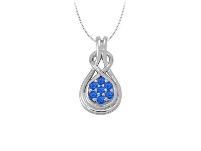 Knot pendant in Sterling Silver with Created Blue Sapphire September Birthstone 0.50 CT TGW
