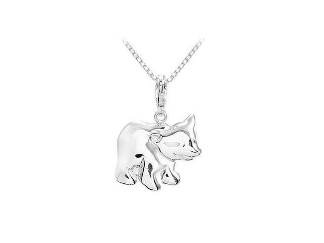 Sterling Silver Charming Animal Bear Charm Pendant