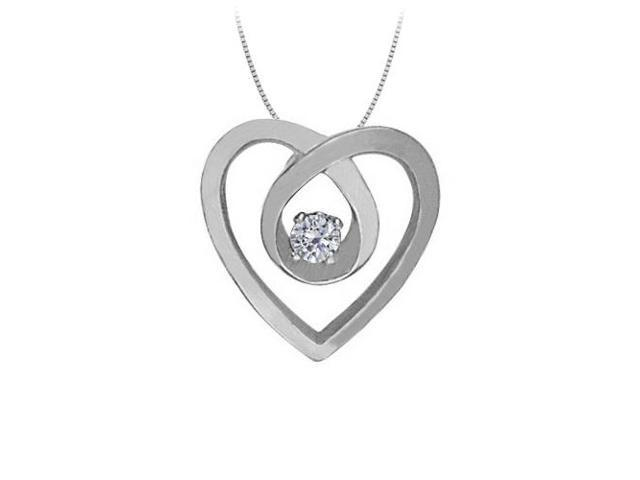 April Birthstone Diamond Heart Pendant Necklace in 14kt White Gold 0.10 CT TDW