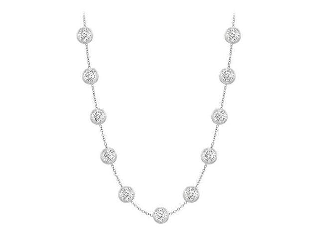 Diamonds By The Yard Necklace in 18K White Gold Bezel Set 2.00 ct.tw