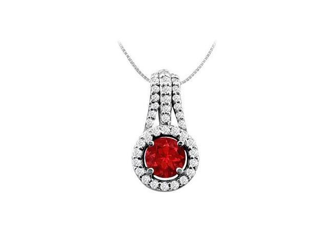 Natural Ruby and Diamond Pendant in 14K White Gold 1.00 Carat TGW