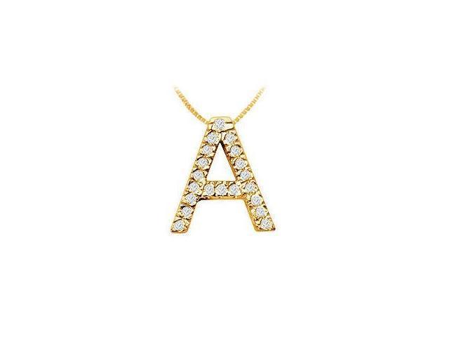 Classic A Initial Diamond Pendant  14K Yellow Gold - 0.30 CT Diamonds