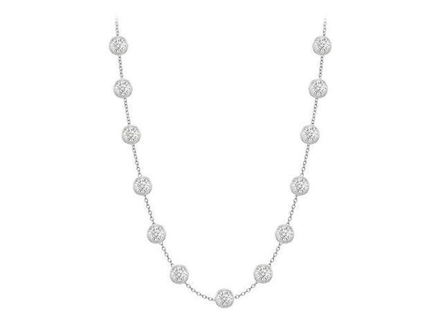 Diamonds By The Yard Necklace in 14K White Gold Bezel Set 1.25 ct.tw