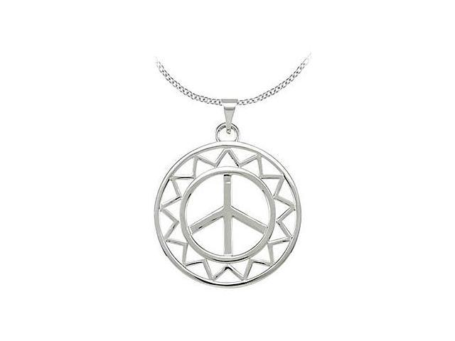 Sun Shaped Peace Sign Pendant in Rhodium Plating .925 Sterling Silver 29X25.75 MM