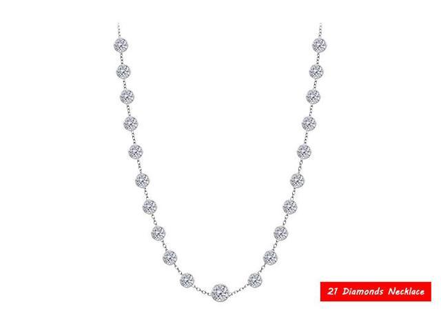 Diamonds by the Yard Necklace in 14K White Gold 3.00 CT Total Diamonds