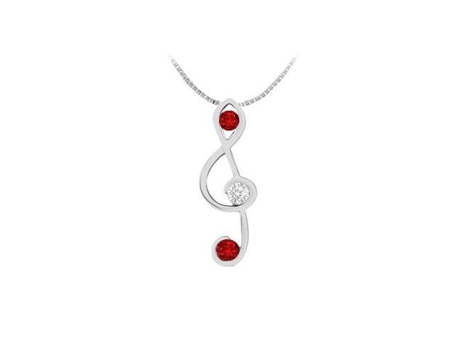 Natural Ruby and Diamond Music Note Pendant in 14K White Gold 0.25 Carat TGW