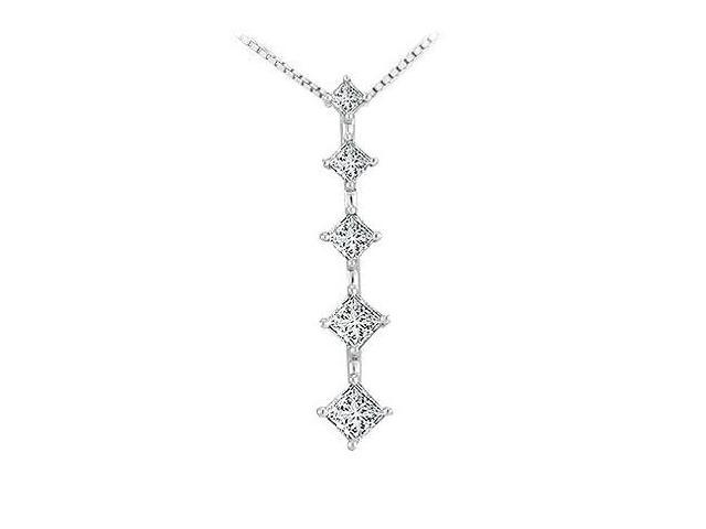 Diamond Journey Pendant  14K White Gold - 1.00 CT Diamonds