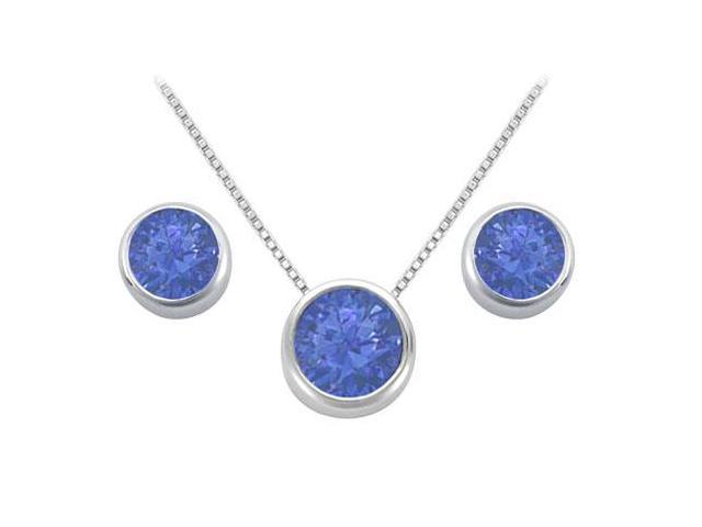 Created Sapphire Solitaire Stud Earrings and Pendant in 14kt White Gold 3.00.ct.tgw