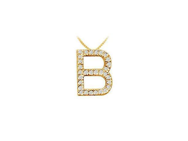 Classic B Initial Diamond Pendant  14K Yellow Gold - 0.45 CT Diamonds