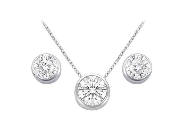 Cubic Zirconia Solitaire Stud Earrings and Pendant in 14kt White Gold 3.00.ct.tgw