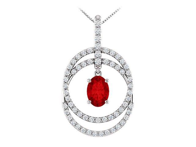 July Birthstone Oval Ruby and CZ Double Row Circle Pendant 14K White Gold 1.75 CT TGW