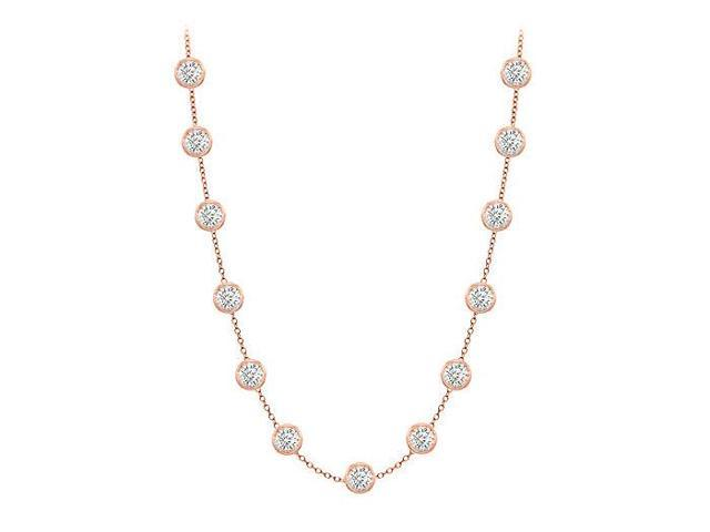 Diamonds By The Yard Necklace in 14K Rose Gold Bezel Set 2.00 ct.tw