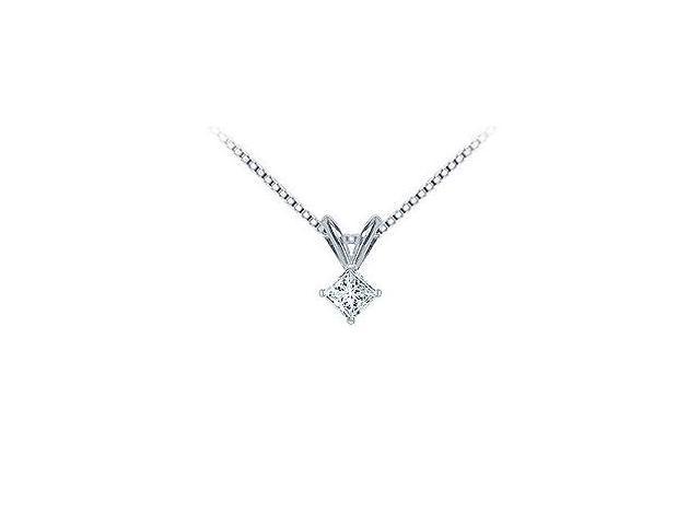 Platinum  Princess Cut Diamond Solitaire Pendant - 0.15 CT. TW.