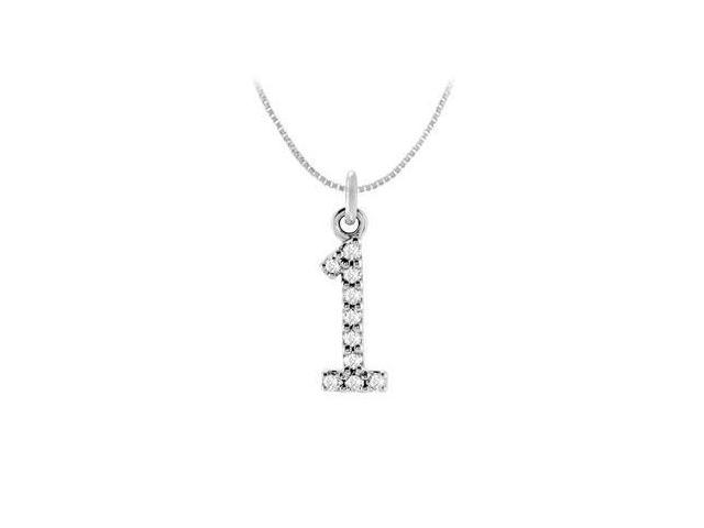 Diamond Numeric 1 Charm Pendant  14K White Gold - 0.05 Diamonds