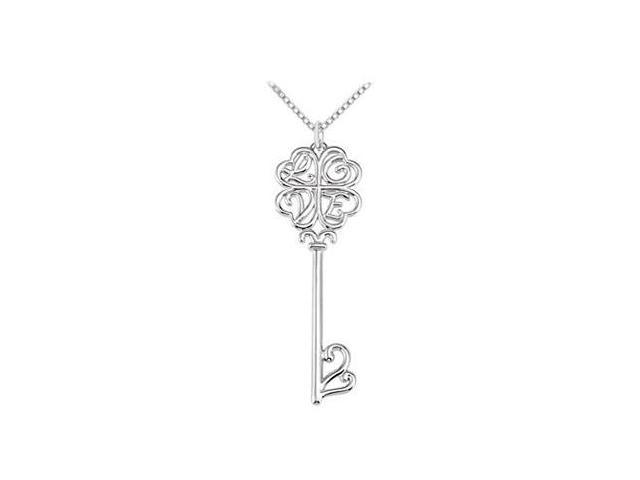 Love is the Key Pendant in Sterling Silver .925 Rhodium Plating 43.00X13.25 MM