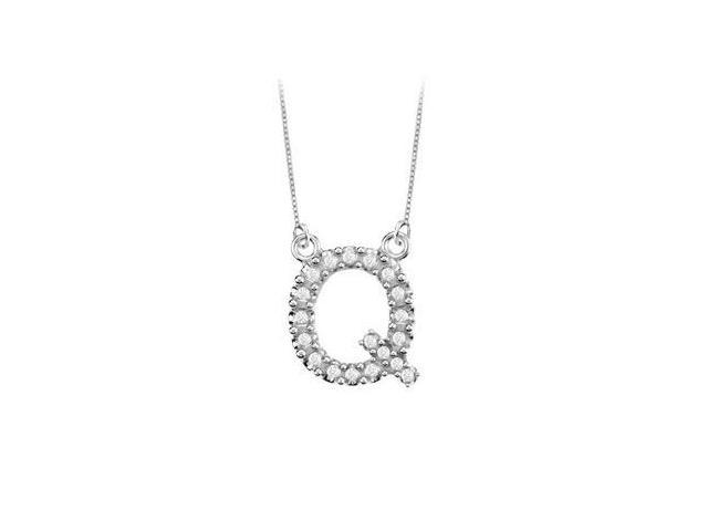Petite Baby Charm Cubic Zirconia Q Initial Pendant  .925 Sterling Silver - 0.25 CT TGW