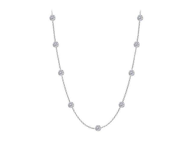 Cubic Zirconia By The Yard Necklace in 925 Sterling Silver 1.00 CT TW
