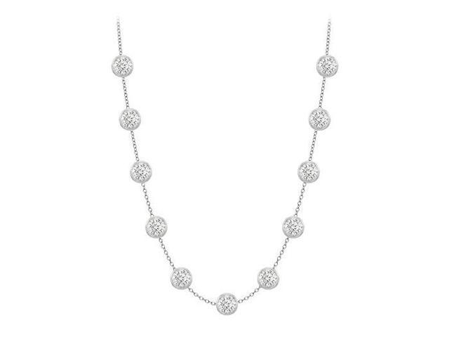 CZ By The Yard Necklace Station in 14K White Gold 3 Carat TGW with Double Up Cable Chain