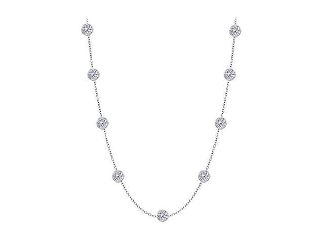 Cubic Zirconia By The Yard Necklace in 925 Sterling Silver 2.00 CT TW