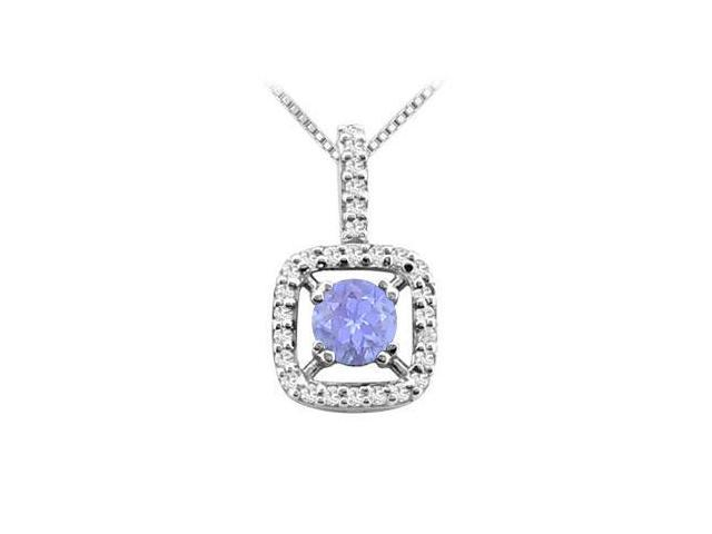 Created Tanzanite and Cubic Zirconia Pendant in 14K White Gold 2.50 Carat TGW