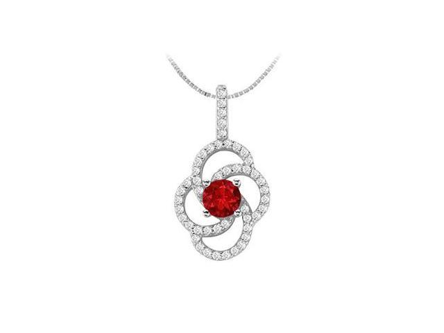 14K White Gold with Diamond and Natural Ruby Flower Design Pendant 1.00 Carat TGW